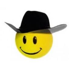 HappyBalls Cowboy Smiley Antenna Topper / Desktop Spring Stand