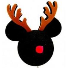 Mickey Mouse Reindeer Rudolph Antenna Topper / Desktop Spring Bobble Stand (Disney)