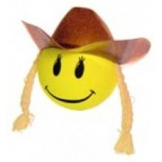 HappyBalls Cowgirl Smiley Antenna Topper / Antenna Ball