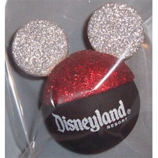 Disney Mickey Mouse Ears - Red & Silver Glitter Antenna Topper (Disneyland)