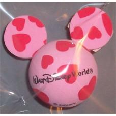 Mickey Pink w/ Red Hearts  Antenna Topper / Desktop Bobble Buddy (Walt Disney World)