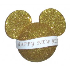 Mickey Mouse Happy New Year Gold Glitter Antenna Topper (Banner)