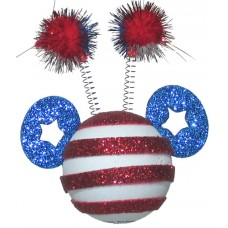 Disney Mickey Mouse July 4th Independence Day Mickey Glitter Patriotic Red, White, Blue Fireworks Pom Poms Antenna Topper