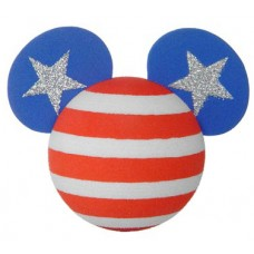 *Last One* Mickey Mouse USA American Flag Antenna Topper (2 Silver Stars) / Desktop Spring Stand