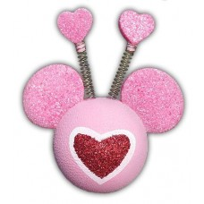 *Rare* Disney Valentine Heart Red Glitter 2 Hearts on Springs Antenna Ball / Antenna Topper